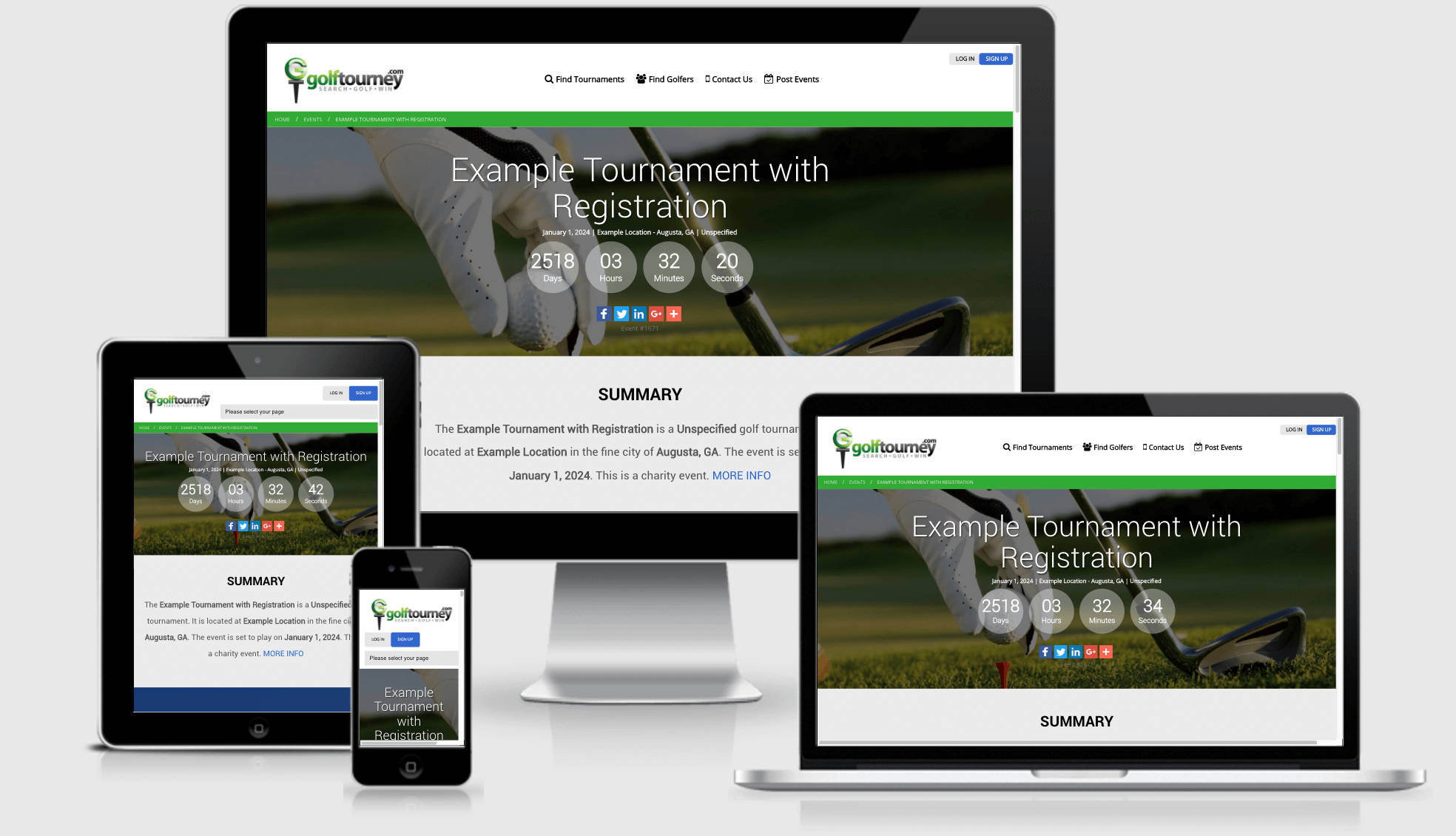 Example Golf Tournament Page